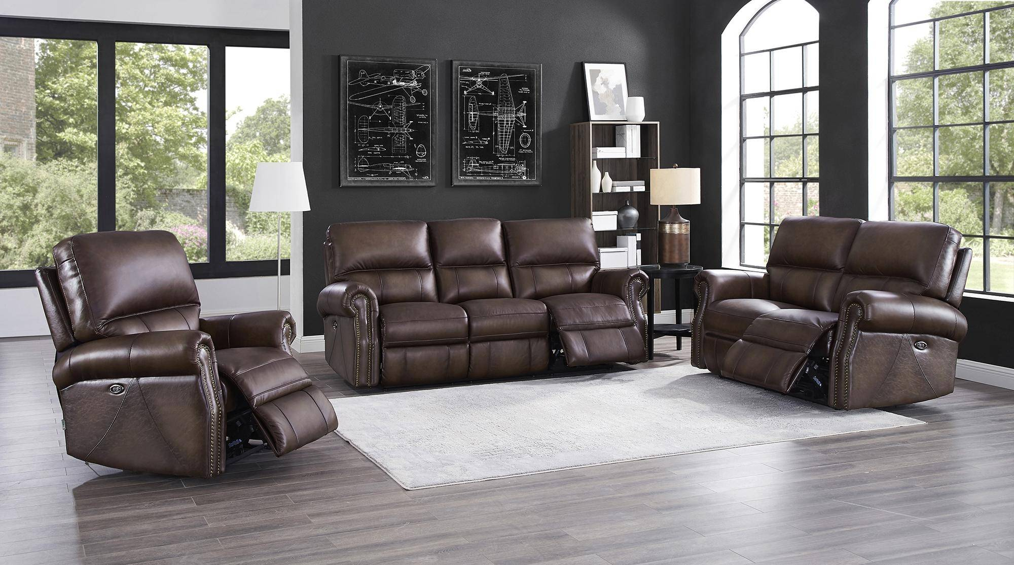 Cool Walnut Genuine Leather Power Reclining Loveseat Raymond Ocoug Best Dining Table And Chair Ideas Images Ocougorg