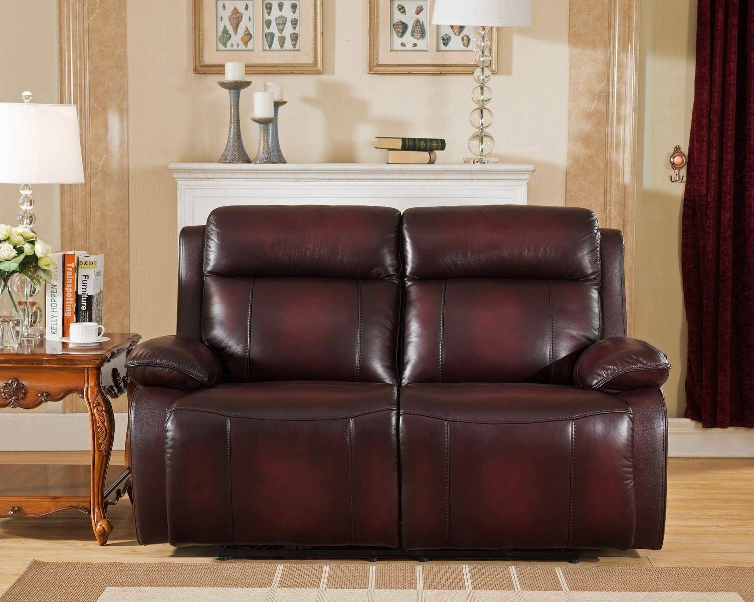 amax faraday power recliner brown red genuine leather sofa set 2pcs rh nyfurnitureoutlets com
