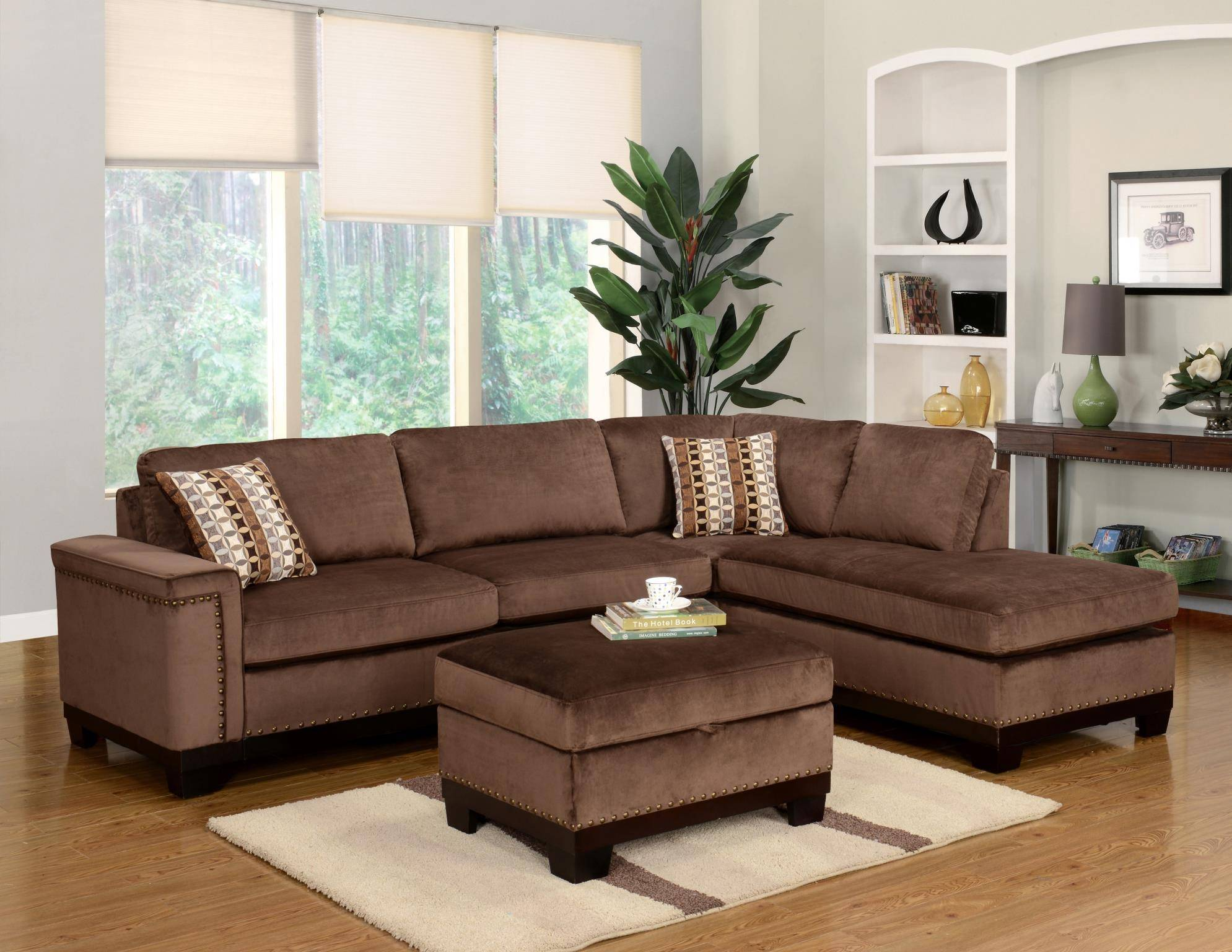 myco furniture opulence modern brown velvet reversible sectional rh nyfurnitureoutlets com