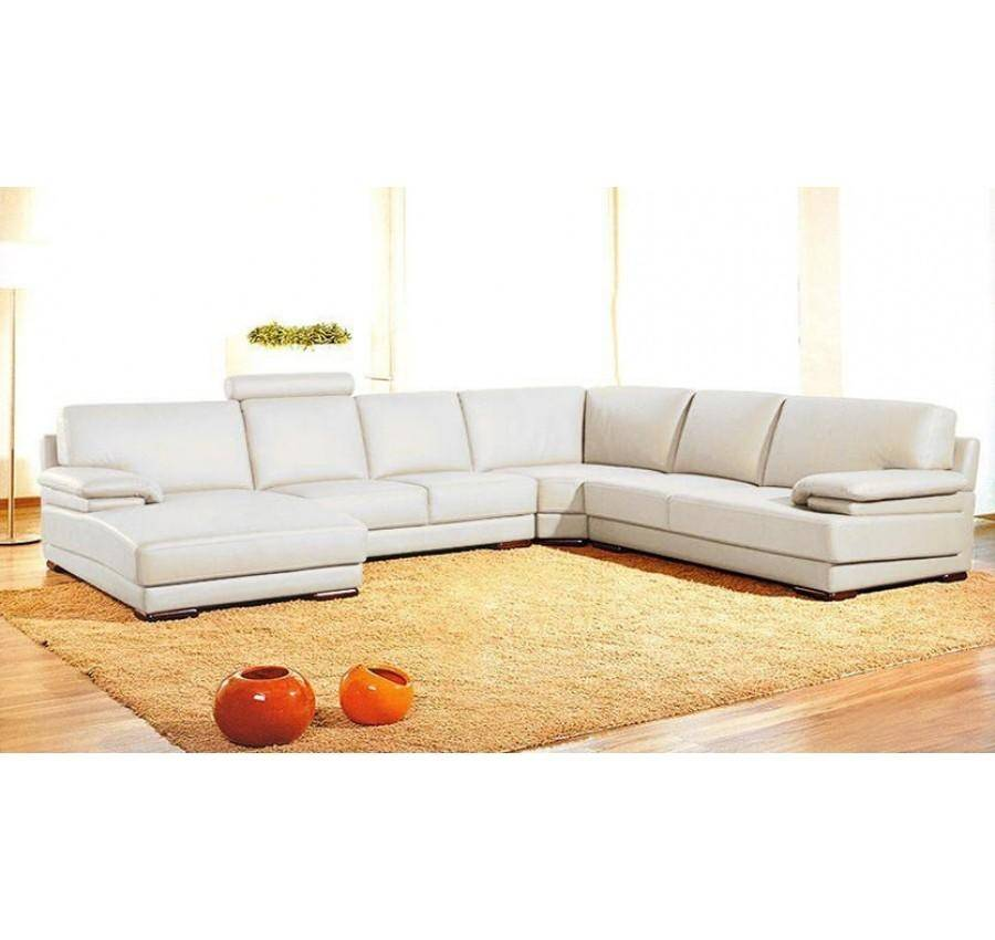 Contemporary Genuine Leather Sectional Sofa Left Chaise Modern ...