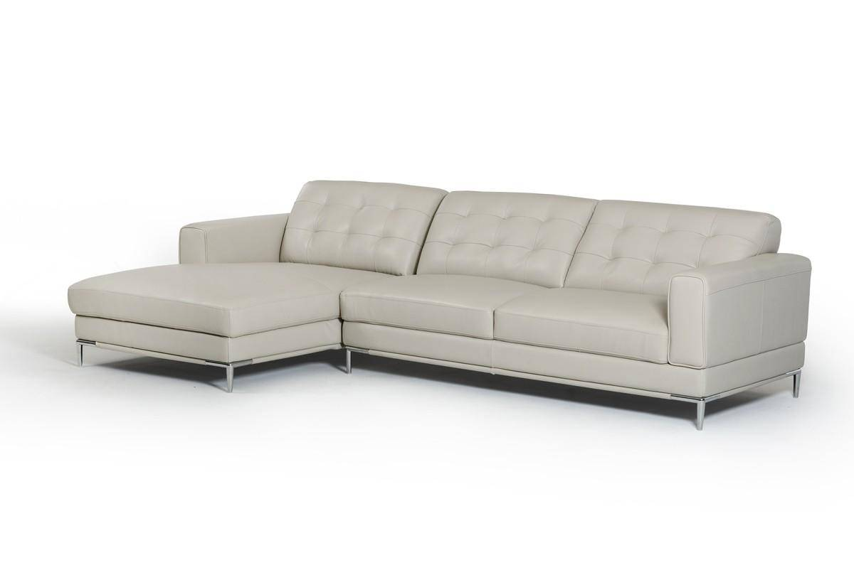 modern light grey leather sectional sofa left chaise vig divani casa rh nyfurnitureoutlets com