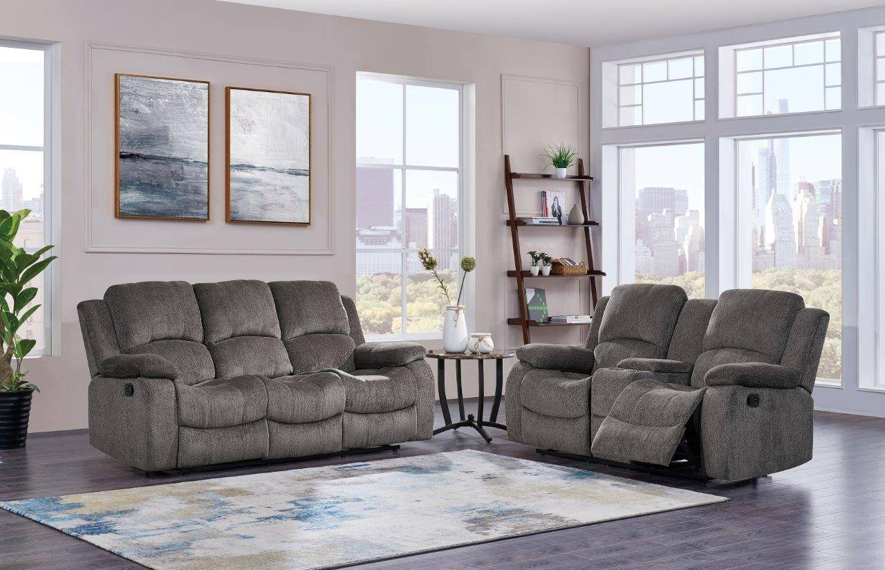 Global Furniture U3118c Mocha Modern Chenille Fabric Reclining Sofa