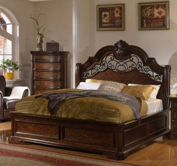 Traditional Furniture Online: McFerran Tuscan Traditional Victorian Brown Wooden Queen