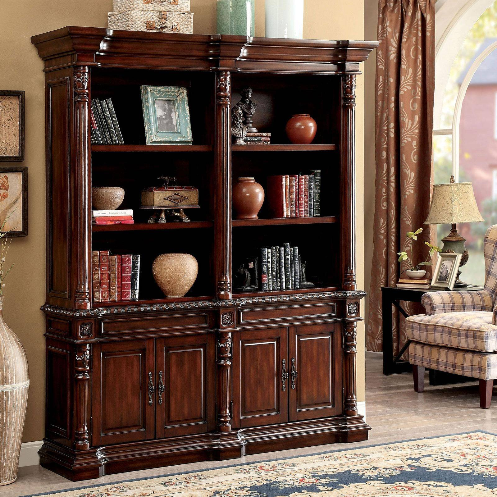 Traditional Wood Large Bookshelf In Brown Roosevelt By
