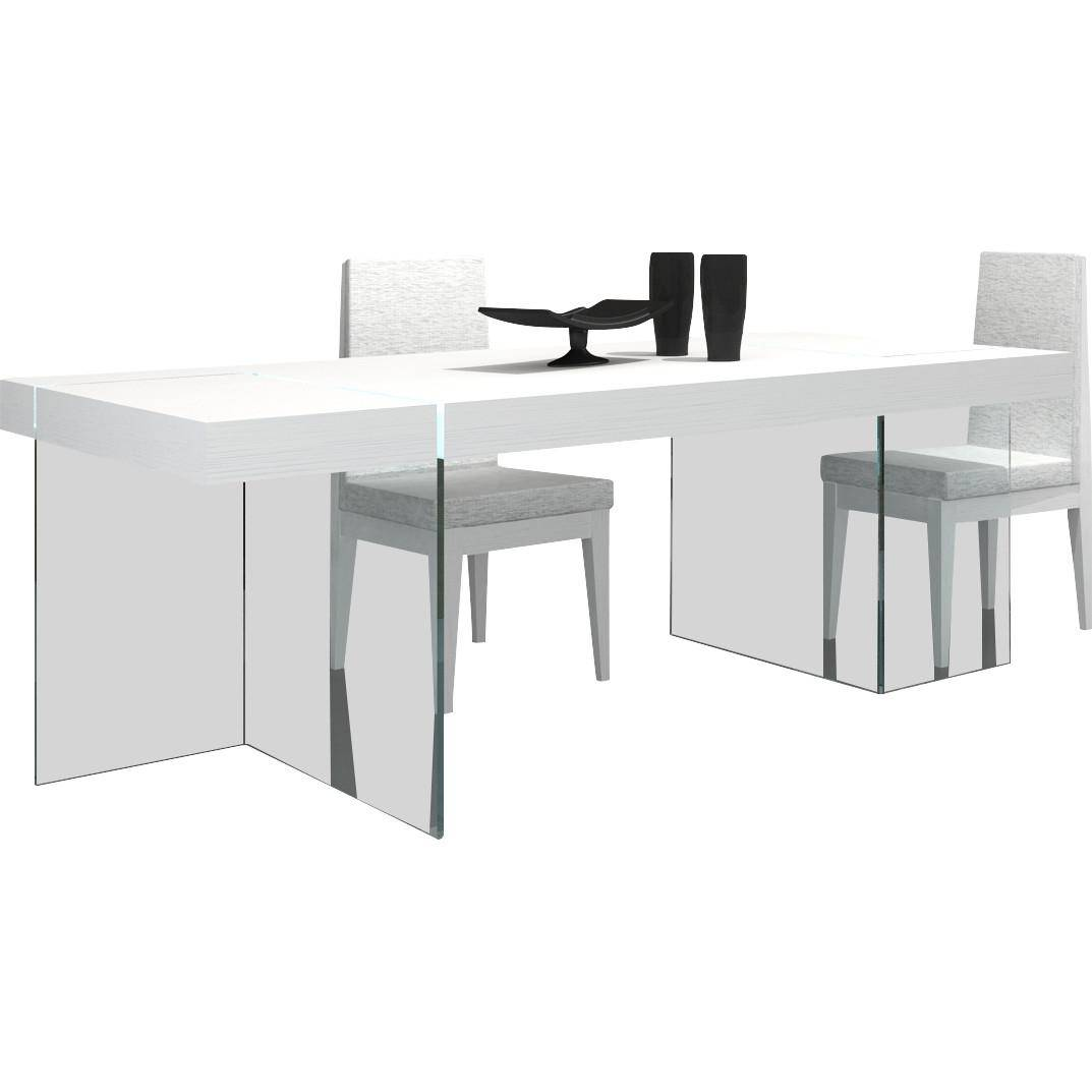 J&M Cloud Modern White Lacquer High Gloss W/Glass Feets Dining Set 5Pcs  Contemporary