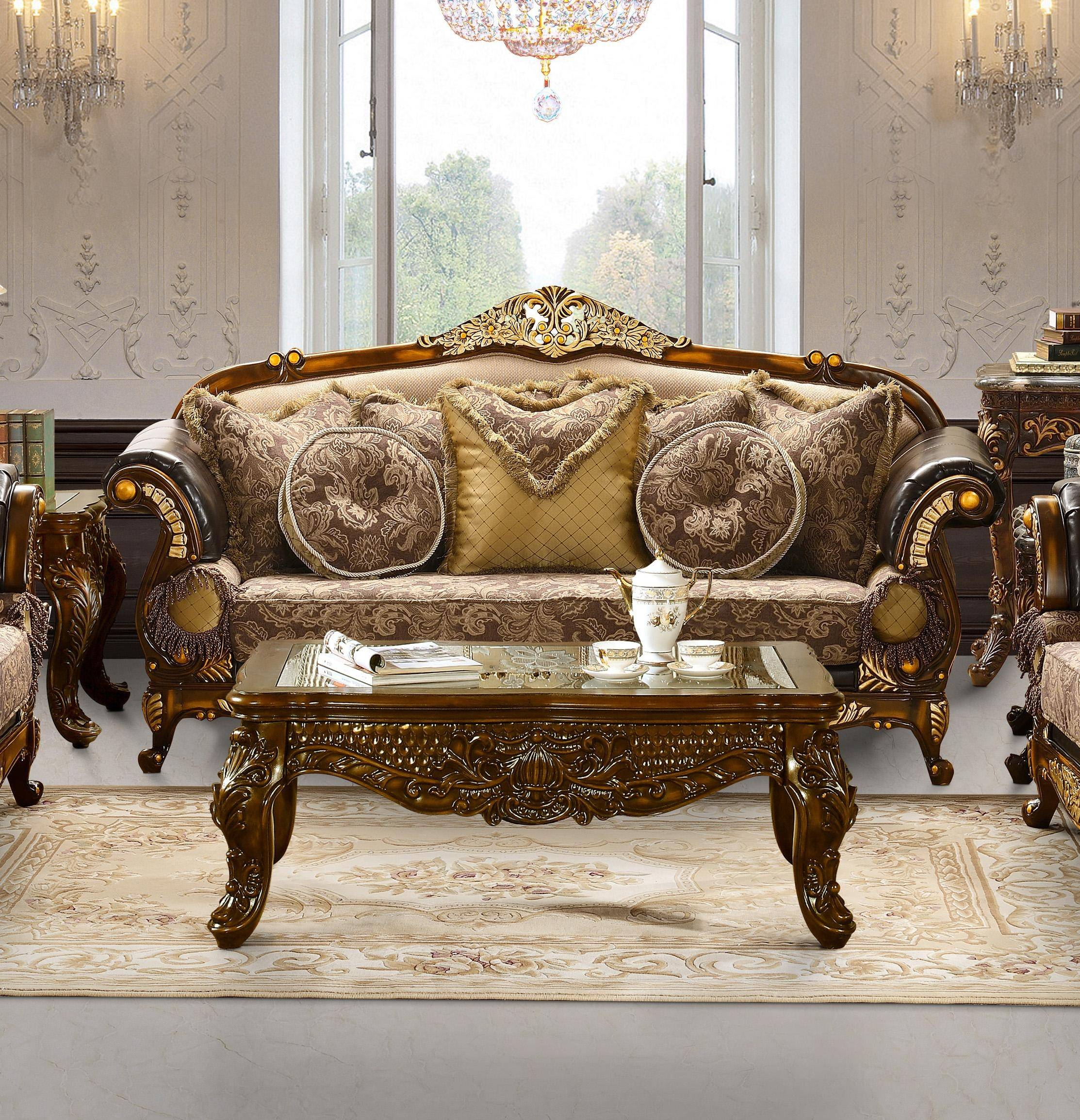 Exceptionnel Homey Design HD 26 Victorian Style Sofa Carved Decorative Solid Wood Reviews  HD