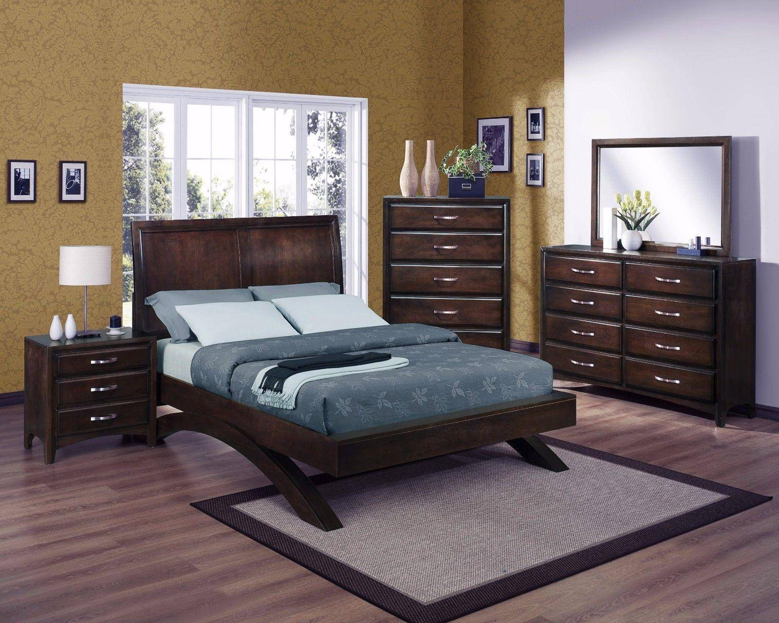 Crown Mark B6150 Vera Modern Solid Wood Dark Brown Finish King Bedroom Set  3Pcs