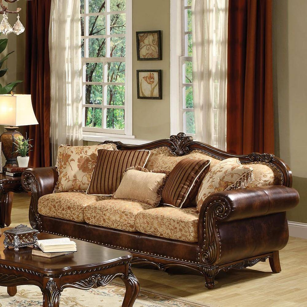 Cherry Bonded Leather Sofa & Loveseat Set Acme Furniture 50155 Remington