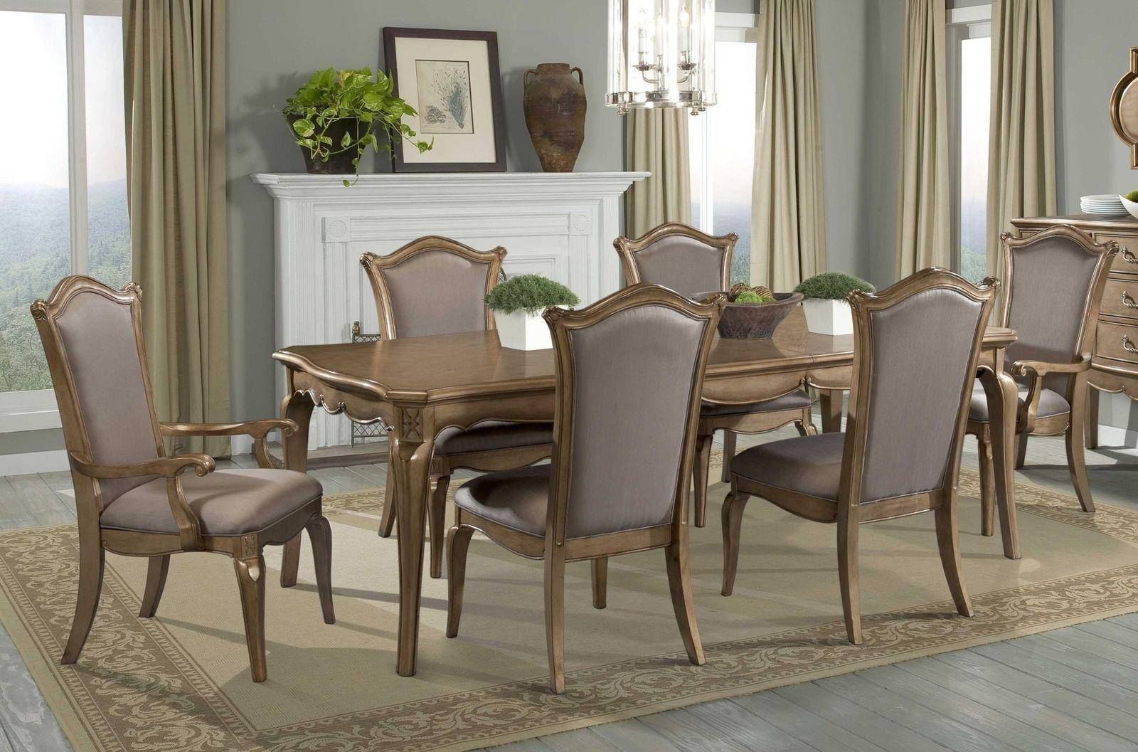 Chambord 7pc Champagne Gold Wood Leaf Dining Table Set Faux Silk Chair 1828 92 1828ax2 1828sx4