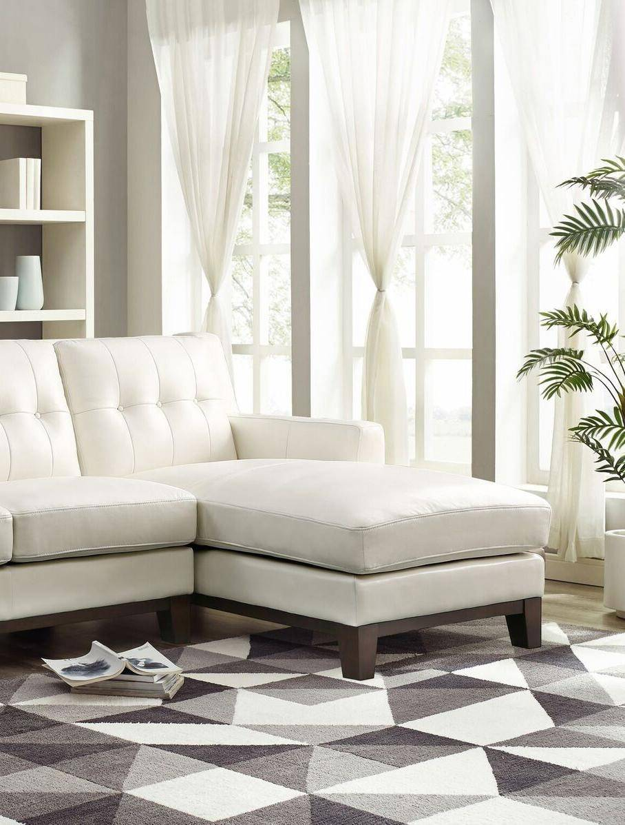 Top Grain Leather White Sofa Chaise Nicola HYDELINE