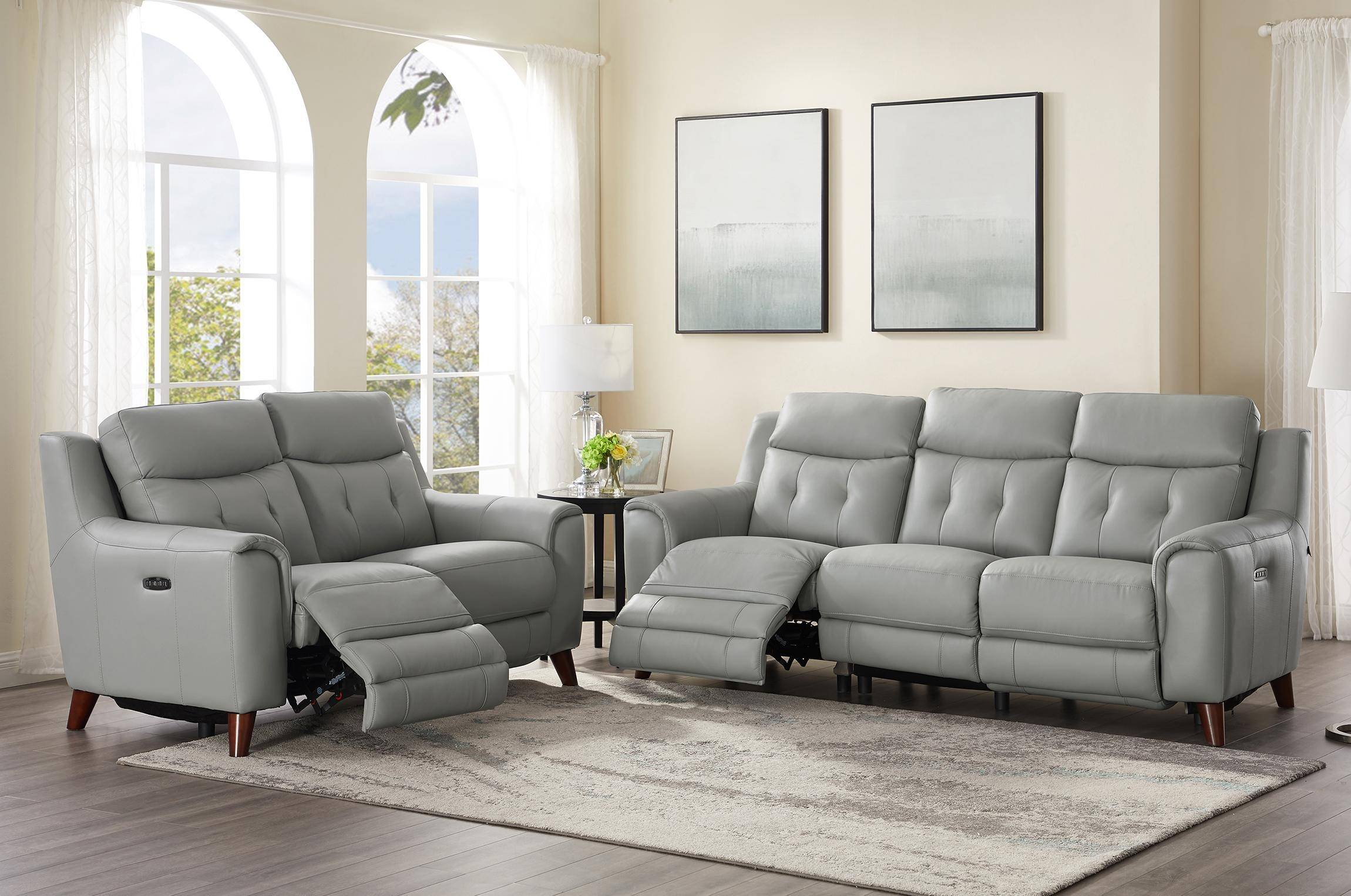 Silver Gray Genuine Leather Power Reclining Sofa Loveseat ...