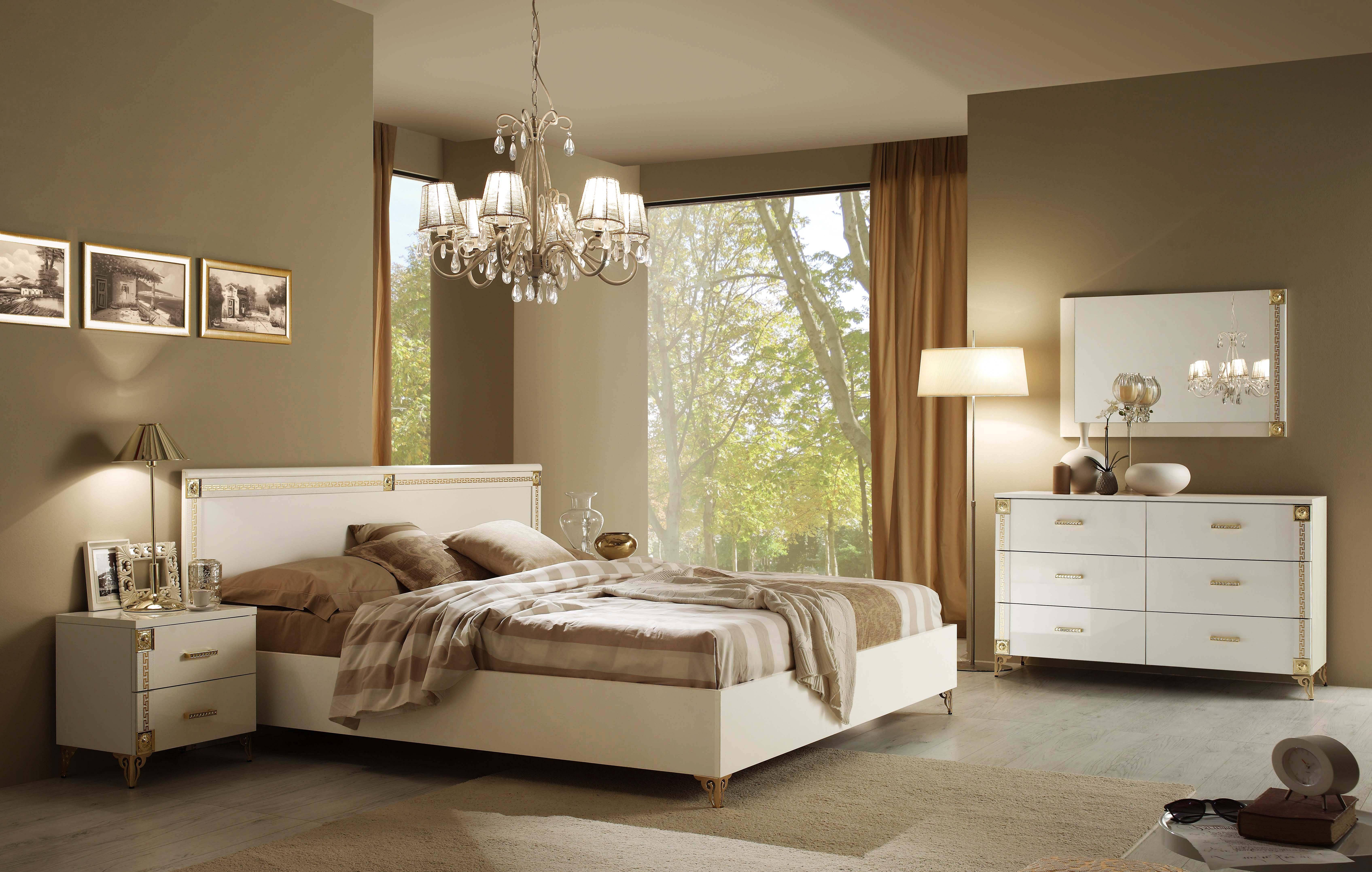 Made In Italy Leather Luxury Contemporary Furniture Set: ESF Venice Luxury White Gold Queen Bedroom Set 3Pcs