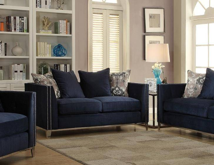 Navy Blue Fabric Sofa Loveseat Set 2Pcs Acme Furniture 52830 Phaedra ...
