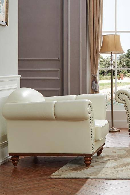 Ivory Modern Italian Leather Living Room Chair Made In Italy ESF 2601