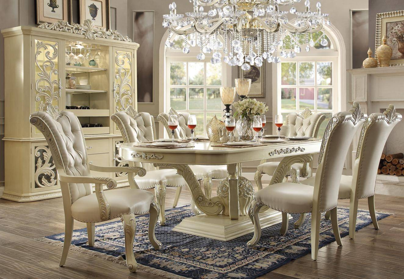 Homey Design HD-27 Antique Victorian White Dining Room Set ...