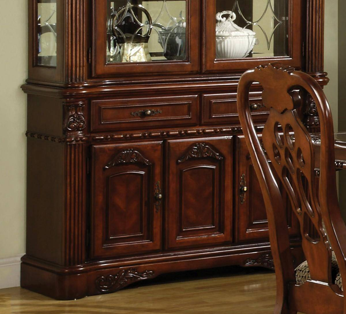 buy dining room set clarity photographs | Crown Mark 2470-2471 Brussels Traditional Rich Brown ...