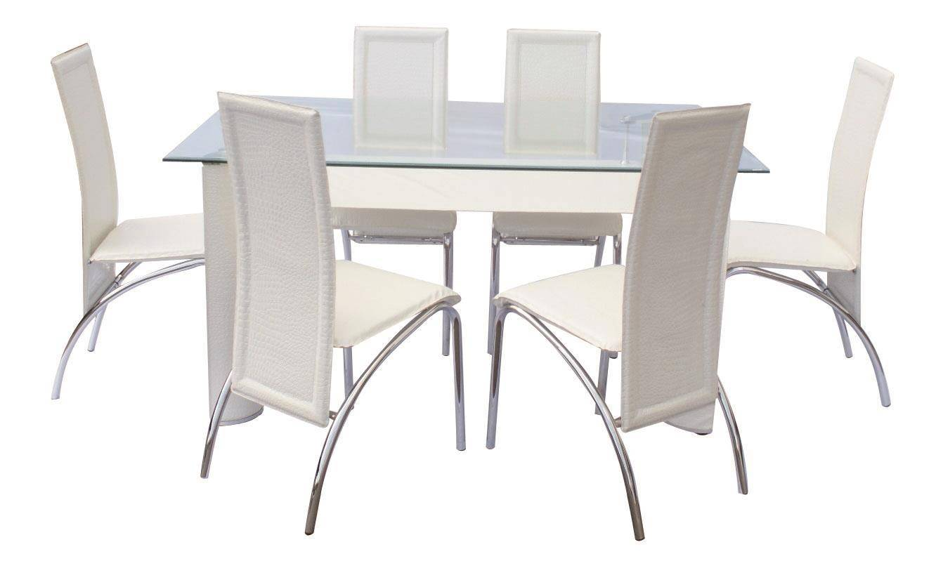 MYCO Furniture Dundee Modern Glass Top White Finish Metal Dining Room Set  7Pcs
