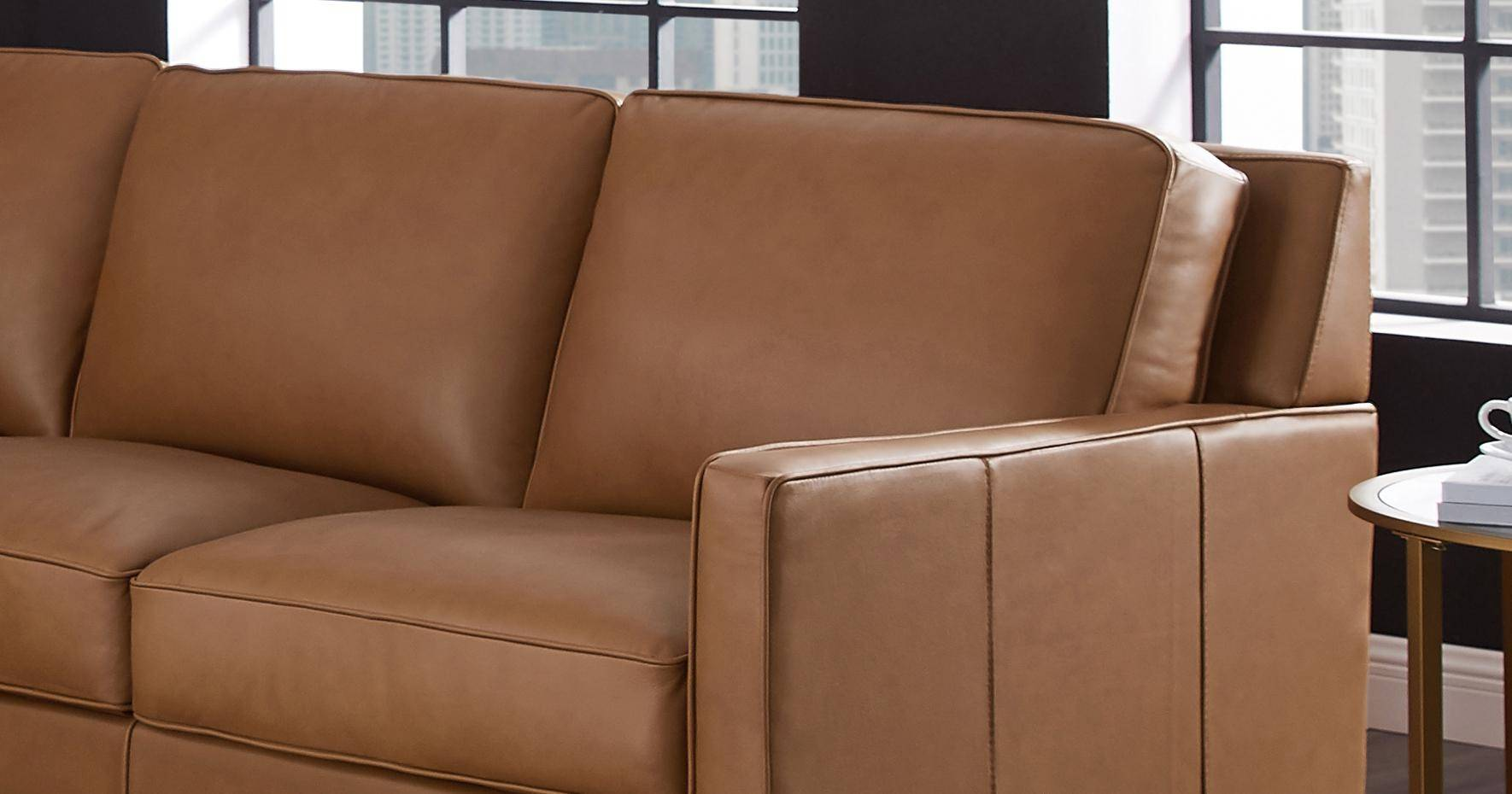 Stupendous Cognac Top Grain Leather Sectional San Francisco Hydeline Pabps2019 Chair Design Images Pabps2019Com