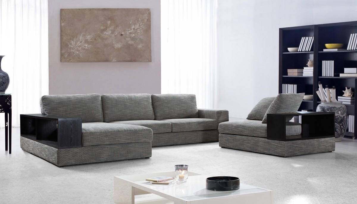 Soflex Denver Ultra Modern Grey Fabric Sectional Sofa Set 2Pcs ...
