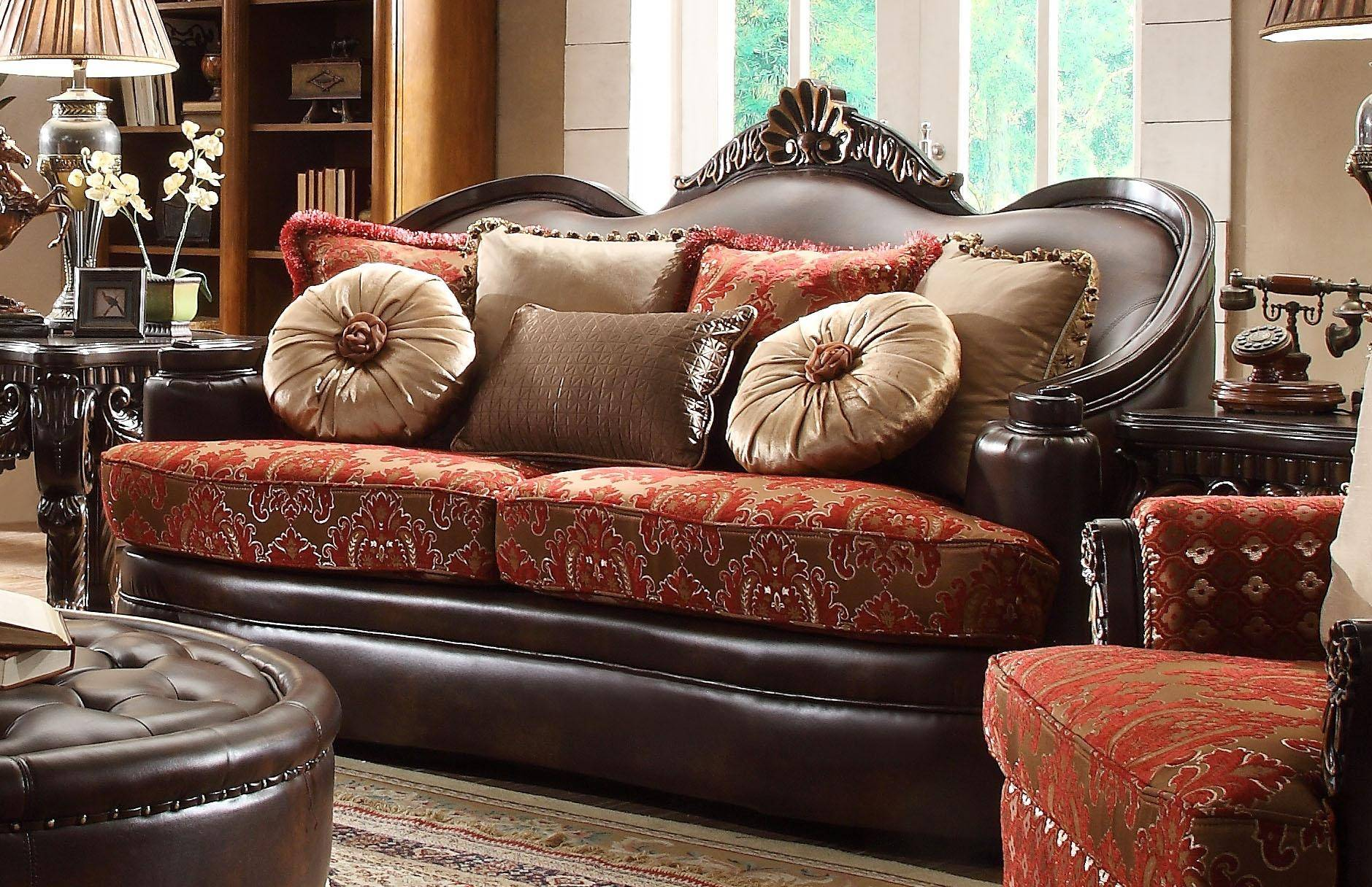 Homey Design HD-6903 Victorian Luxury Rich Brown Leather Red ...