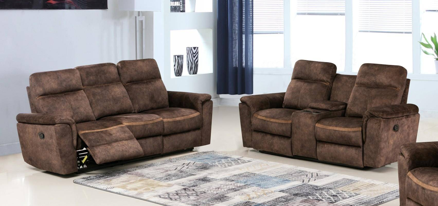 Contemporary Dark Brown Palomino Recliner Sofa Set 2 Pcs Soflex Parker