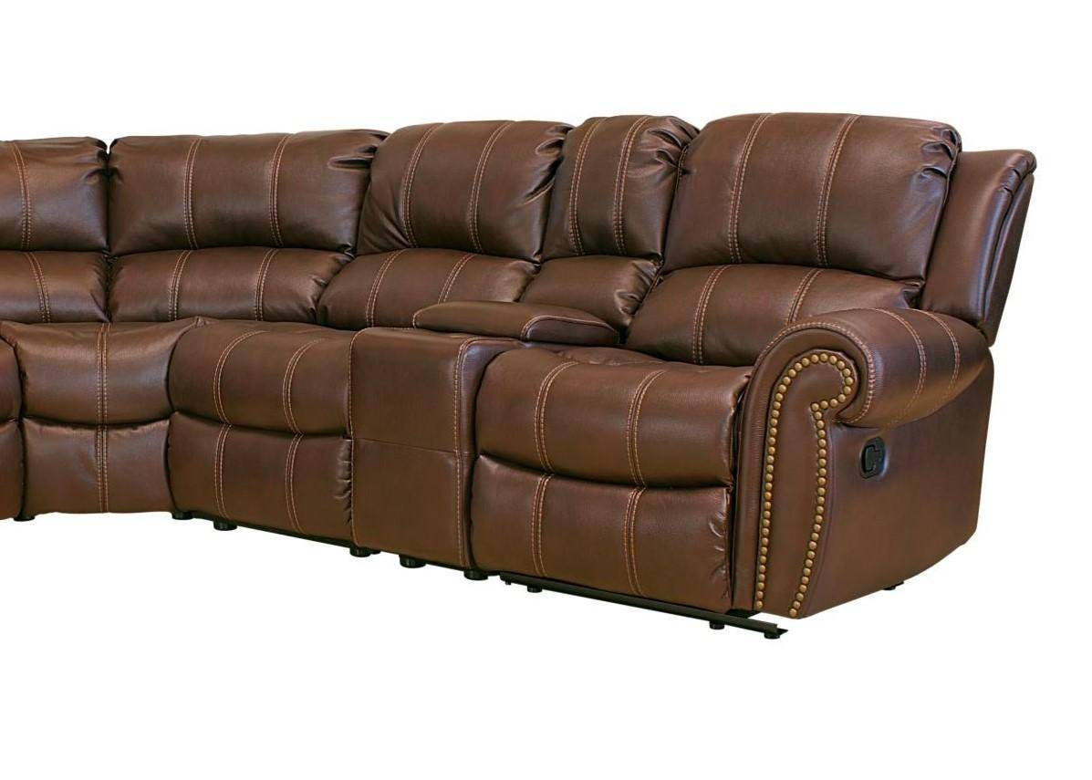 Myco Furniture Gr910 Br Gretna Modern Brown Leather Air Nailhead Trim Sectional