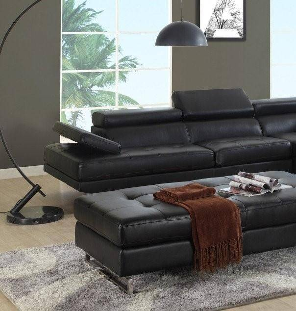 Roomstore Furniture Store: Contemporary Black Bonded Leather Sectional W/ Ottoman