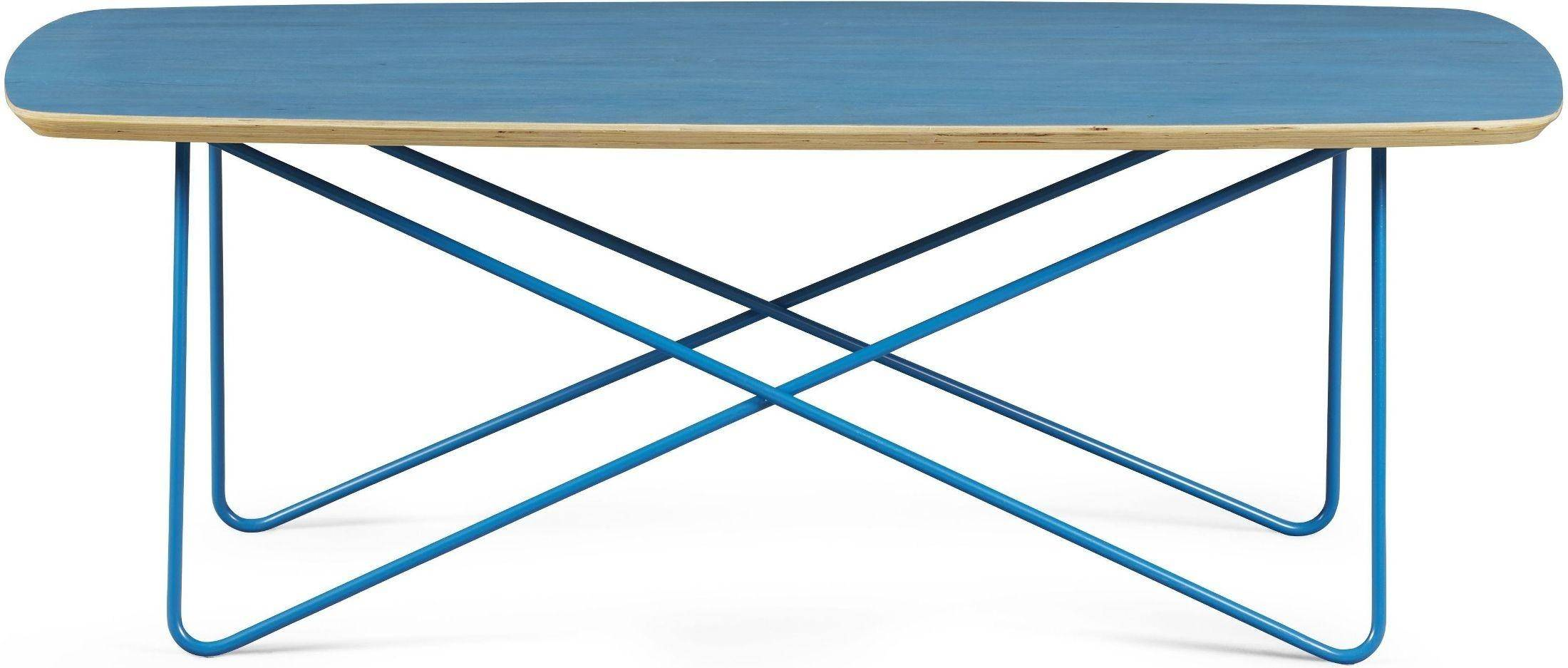 Contemporary Blue Finish Occasional Table Set 2 Pcs