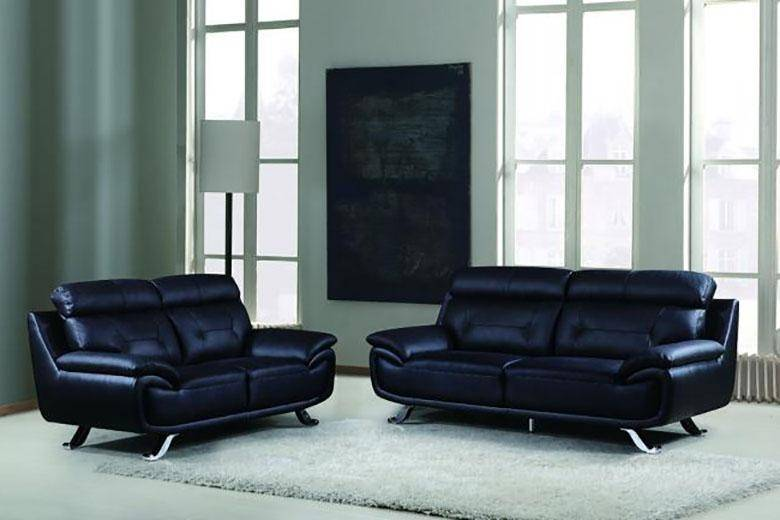 Maxwest P338 Modern Black Genuine Leather Sofa and Loveseat Set 2 ...