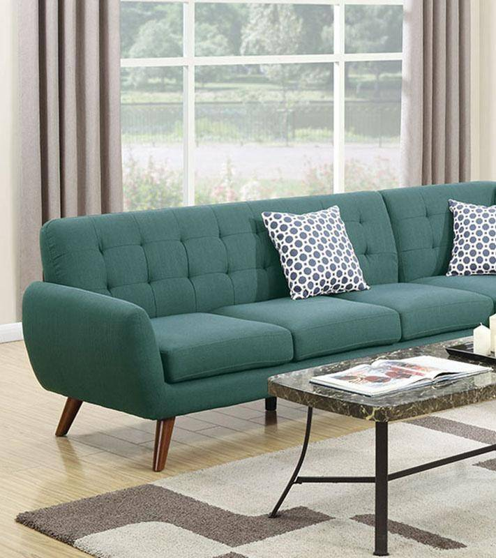 Roomstore Furniture Store: Laguna Blue Fabric Sectional Sofa F6955 Poundex