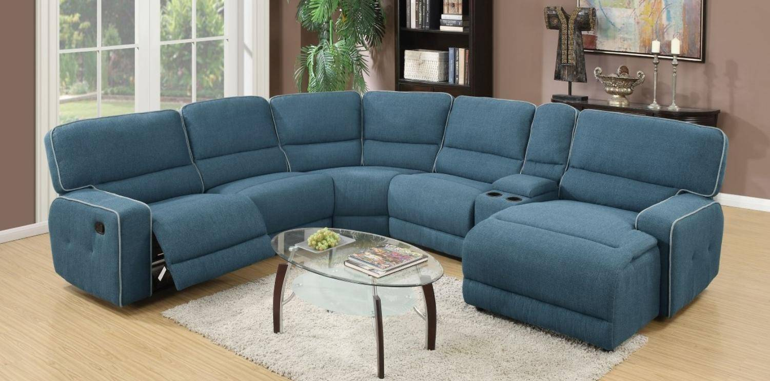 Acme 52595 Becker Blue Fabric Motion Home Theater Sectional Sofa Contemporary Reviews