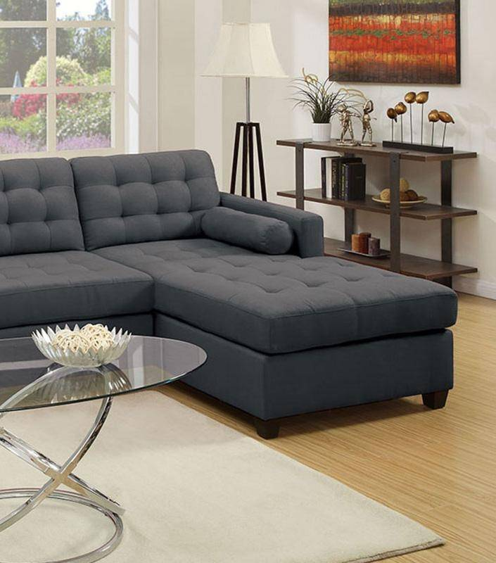 Roomstore Furniture Store: 2-Pcs Sectional Sofa Set F7587 Tufted Grey Fabric Poundex