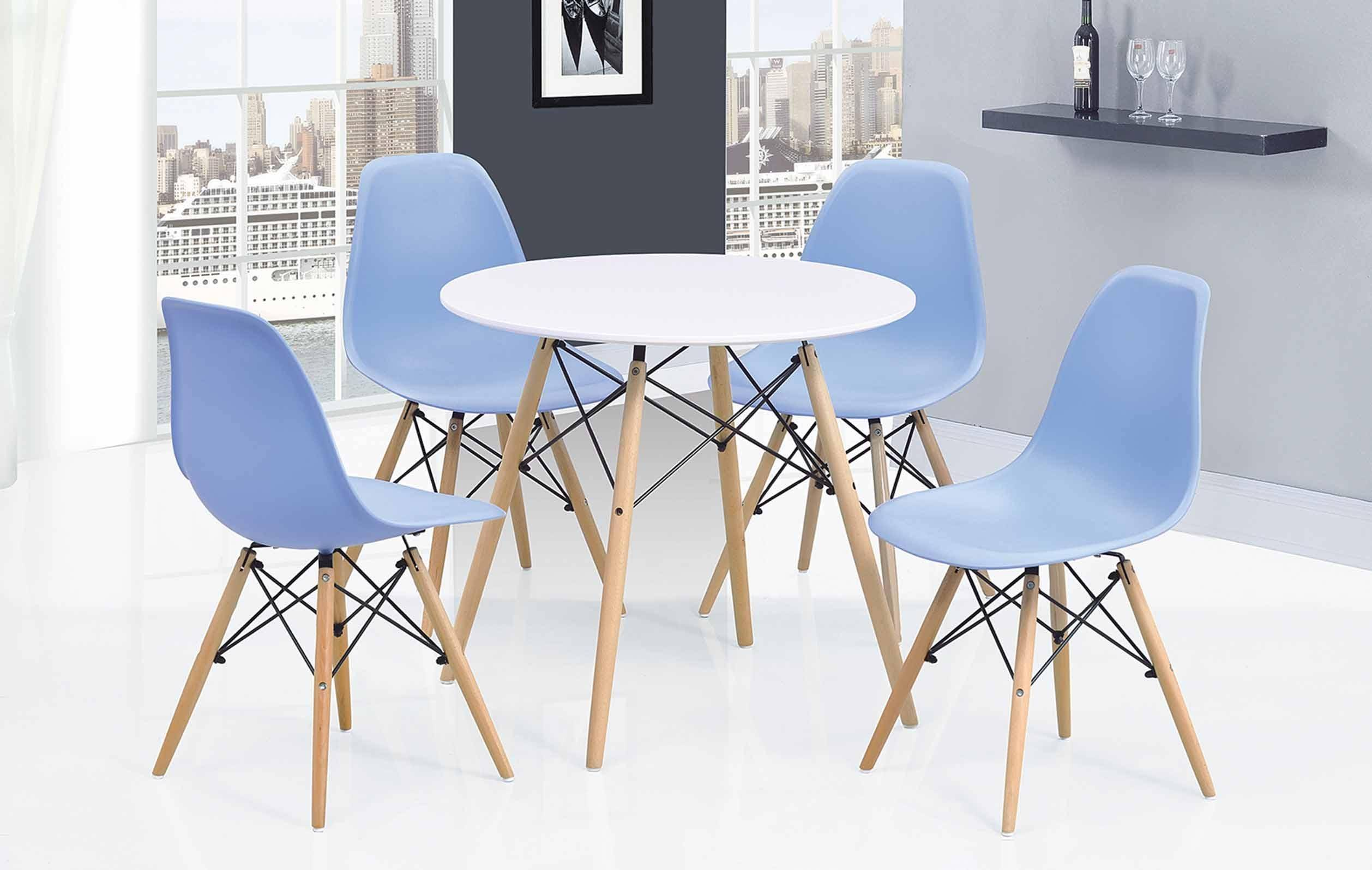 Surprising Esf 902 Dt 971 Dc Modern Casual Round Dining Table Blue Chairs Dining Set 5Pcs Alphanode Cool Chair Designs And Ideas Alphanodeonline