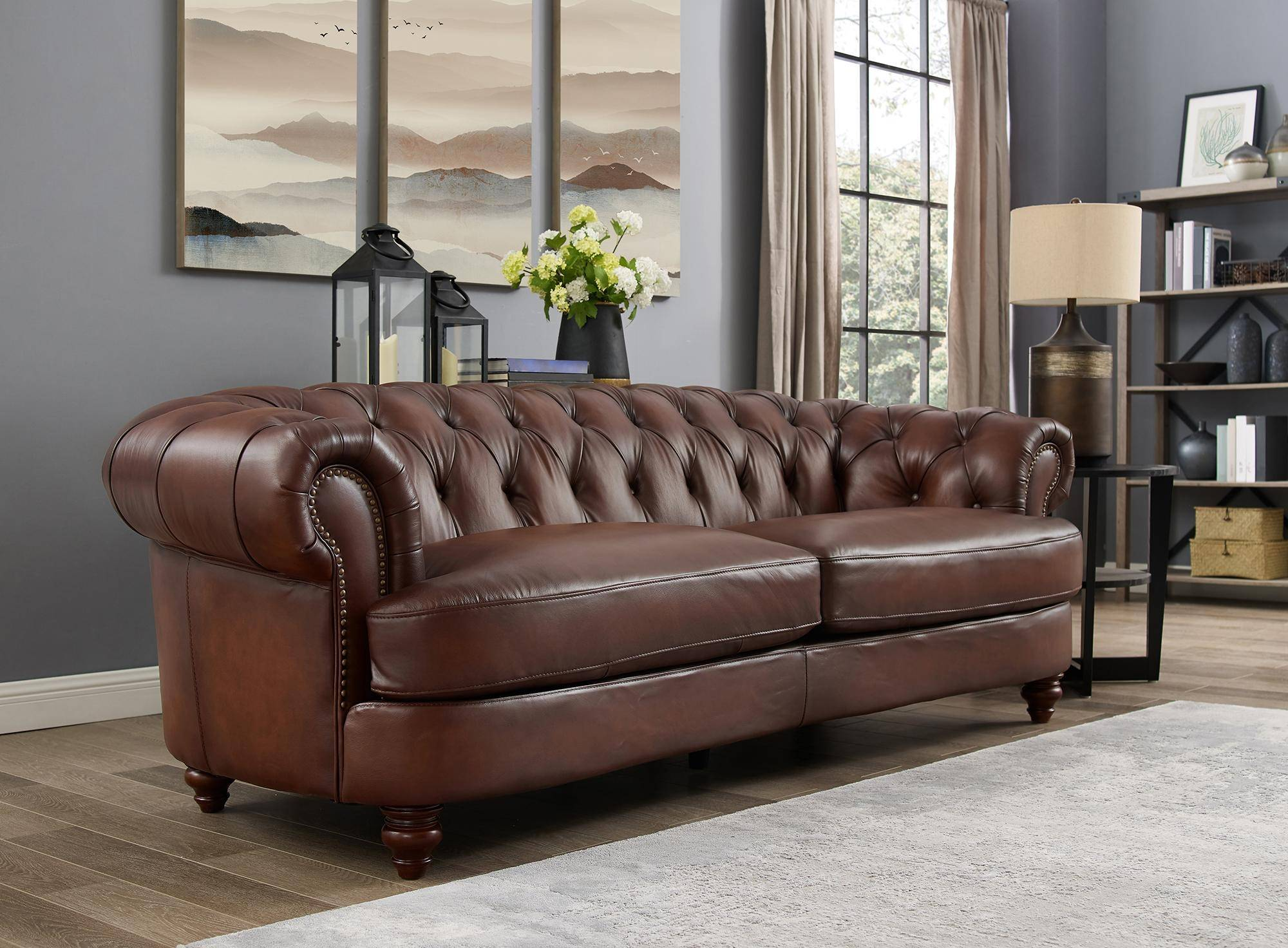 Luxury Dark Brown MELTON Genuine Leather Sofa HYDELINE ...