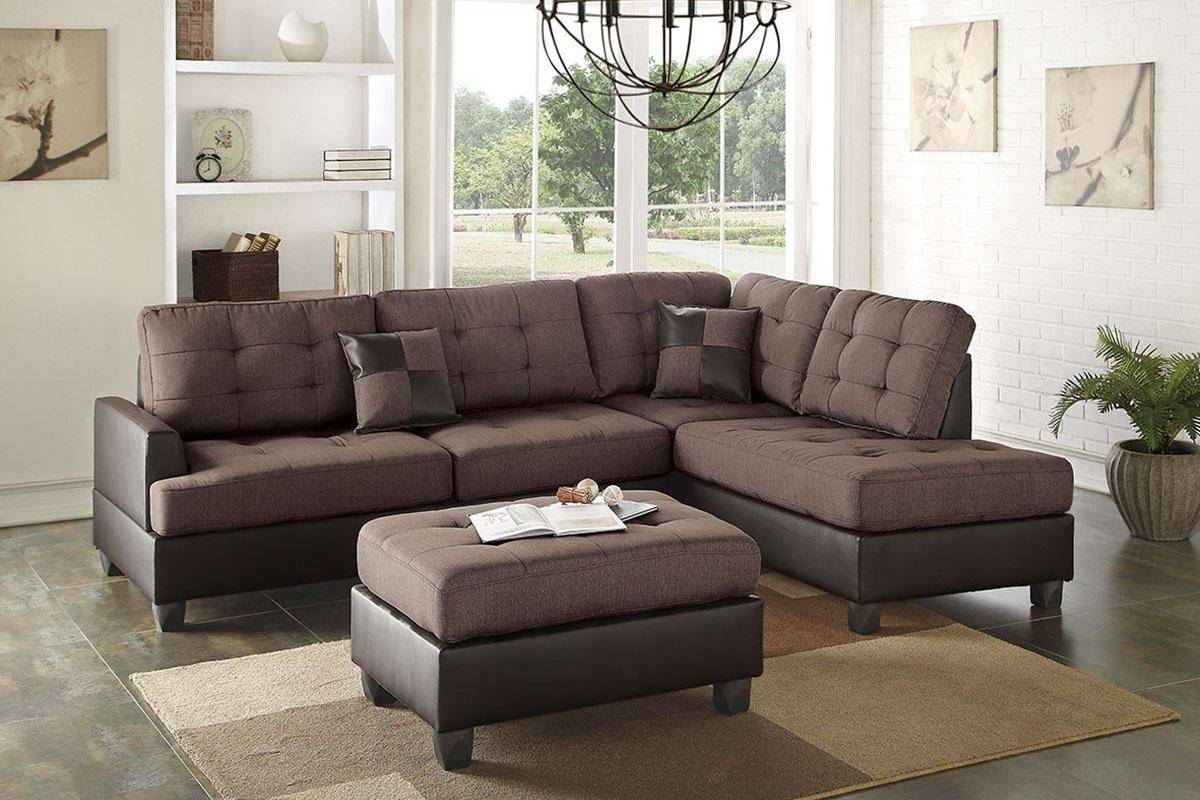 Marvelous Brown Faux Leather Sectional Sofa Set 2 Pcs F6857 Poundex Modern Ocoug Best Dining Table And Chair Ideas Images Ocougorg