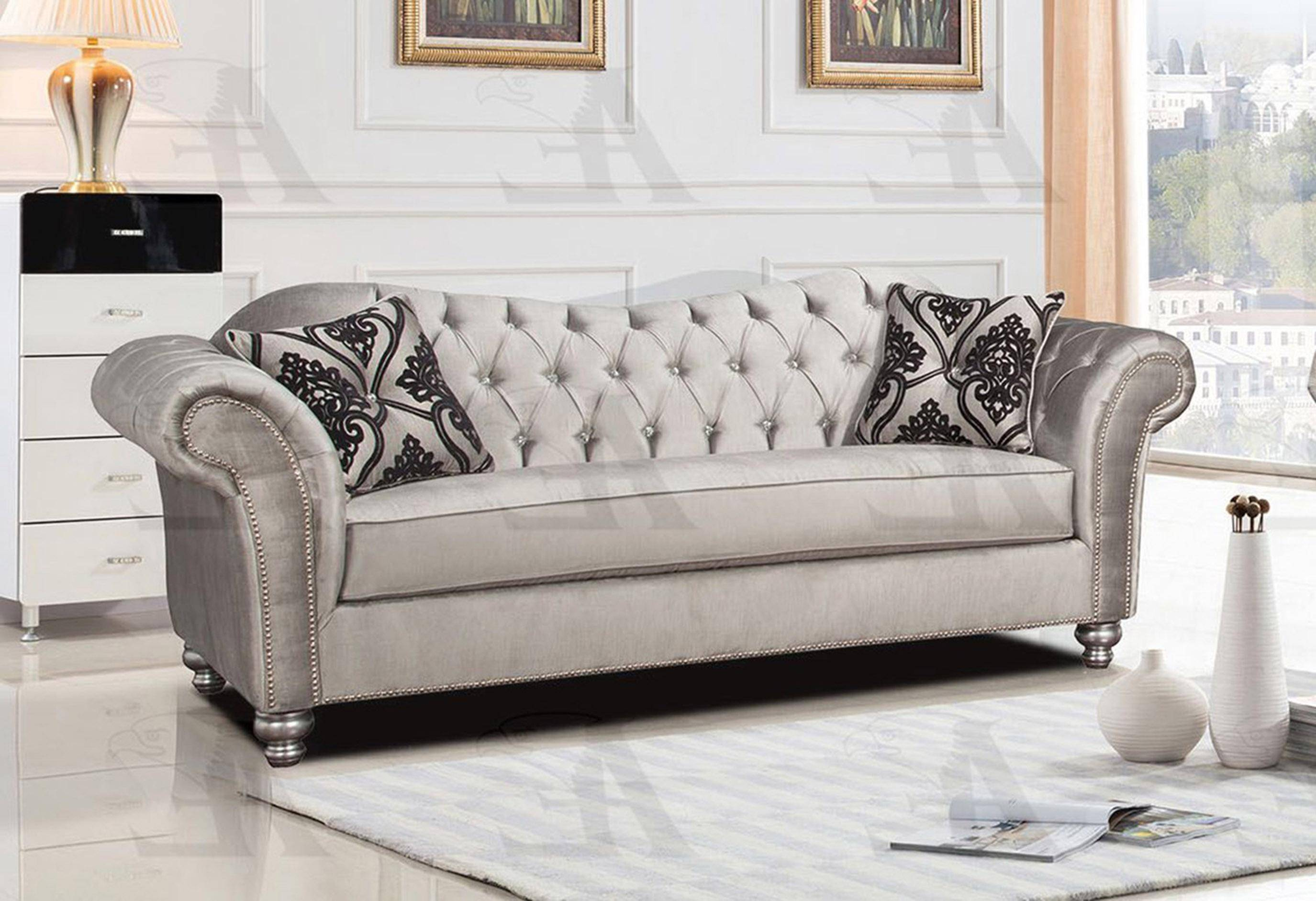 American Eagle Furniture Ae2600 S Silver Tufted Sofa Fabric