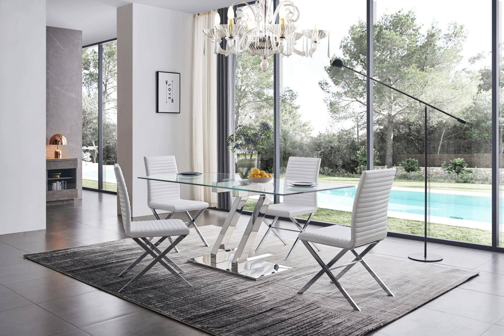 Tempered Glass Dining Table 180 Set W 85 White Chairs Modern 7pcs Esf Zz Zz180 85 Set 7
