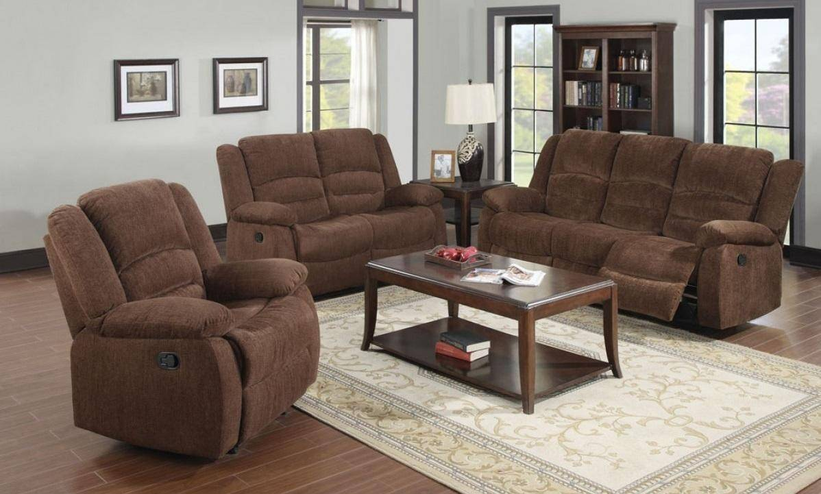 Dark Brown Chenille Fabric Reclining Sofa Loveseat Acme Furniture