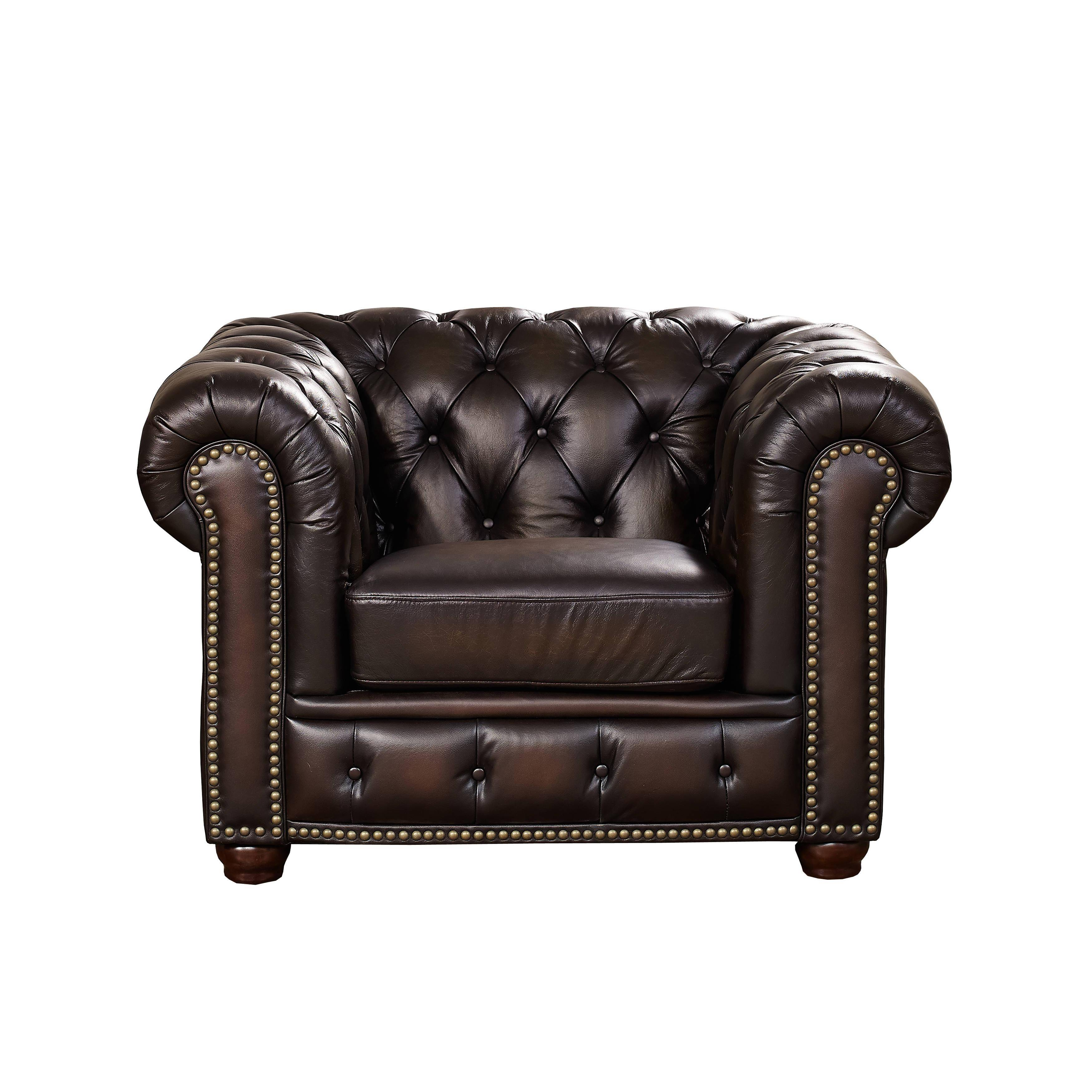 Amax Leather Albany Brown Genuine Leather Sofa Armchair ...
