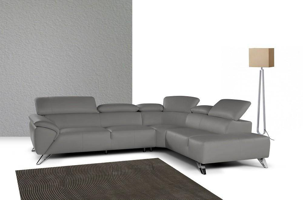 J&M Tesla Modern Grey Premium Thick Italian Leather Sectional Sofa Left  Hand Chase