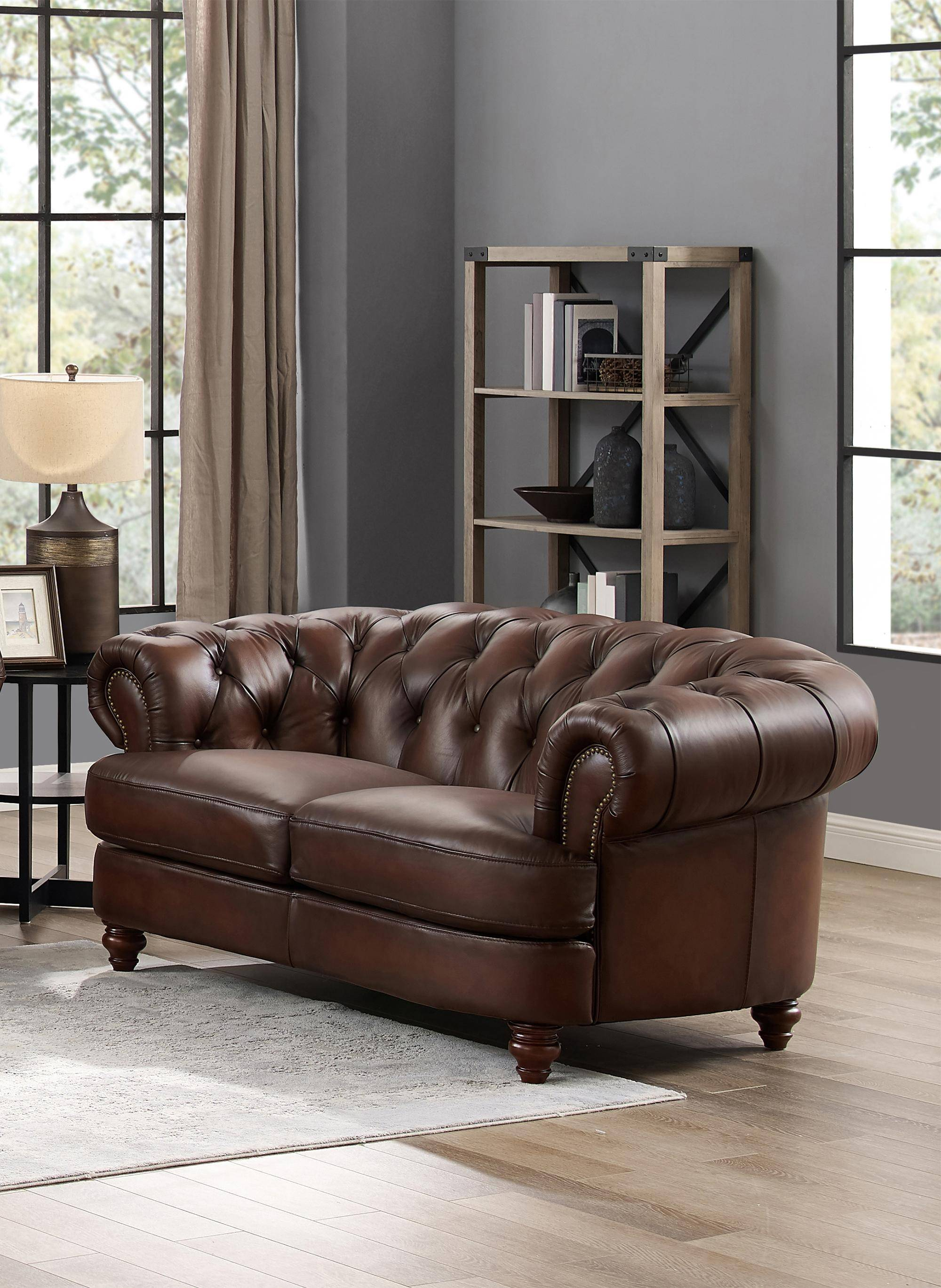 Luxury Dark Brown Melton Genuine Leather Loveseat Hydeline Classic Traditional Melton 9956lv1866h