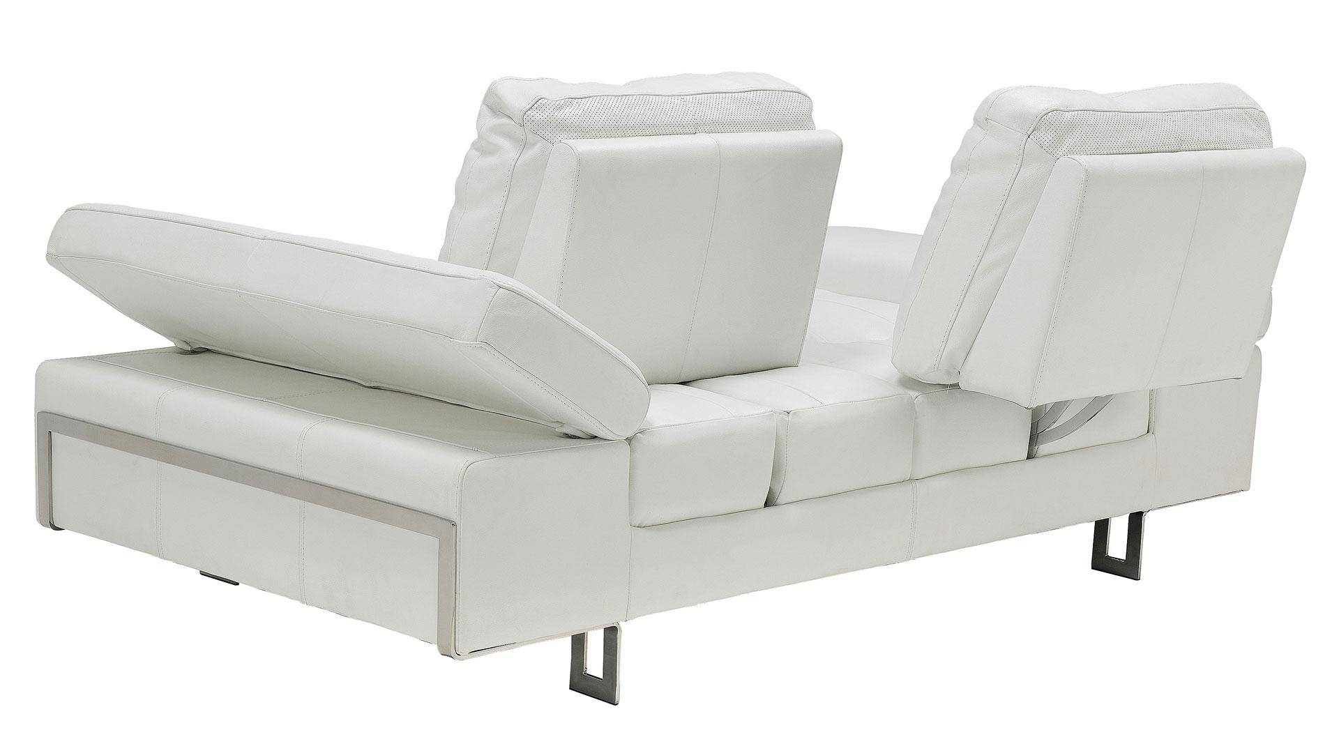 At Home Usa Gia White Luxury Italian Leather Ultra Modern Loveseat Contemporary Skuhite602