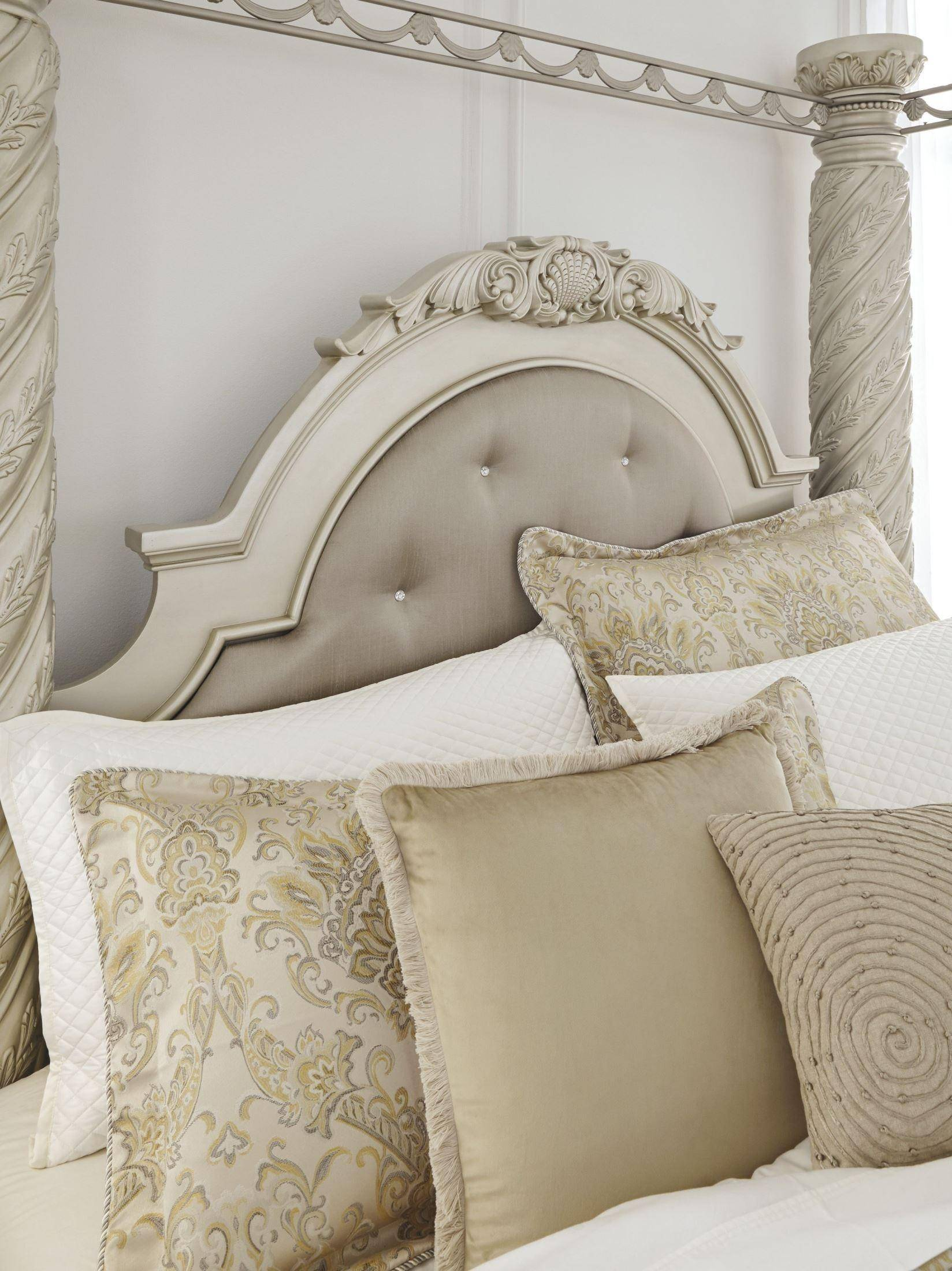 Ashley Cassimore B750 King Size Canopy Uph Bedroom Set 5pcs In Pearl Silver B750 58 56 97 31 36 93 2 Set 5