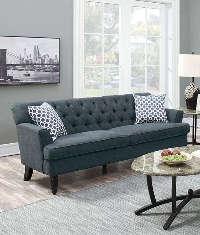 Blue Fabric Sofa Loveseat Set 2 Pcs F6941 Poundex Contemporary Modern