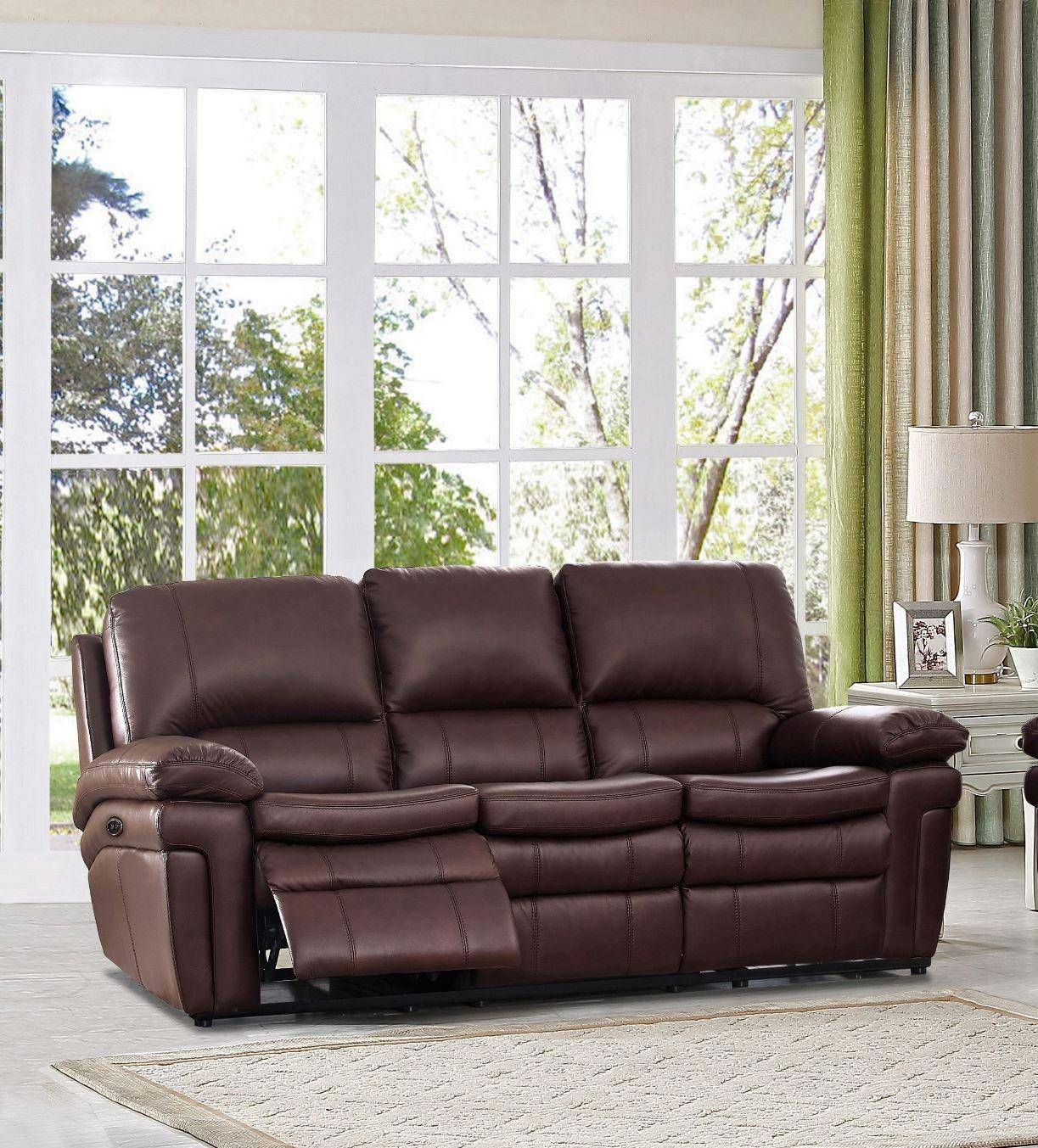 Astonishing Top Grain Leather Power Reclining Sofa Dark Brown Burrard Hydeline Bralicious Painted Fabric Chair Ideas Braliciousco
