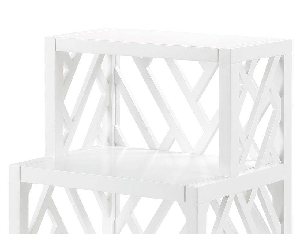 Outstanding Bungalow 5 Nantucket Modern White Lacquered Wood 2 Fixed Shelves Side Table Machost Co Dining Chair Design Ideas Machostcouk