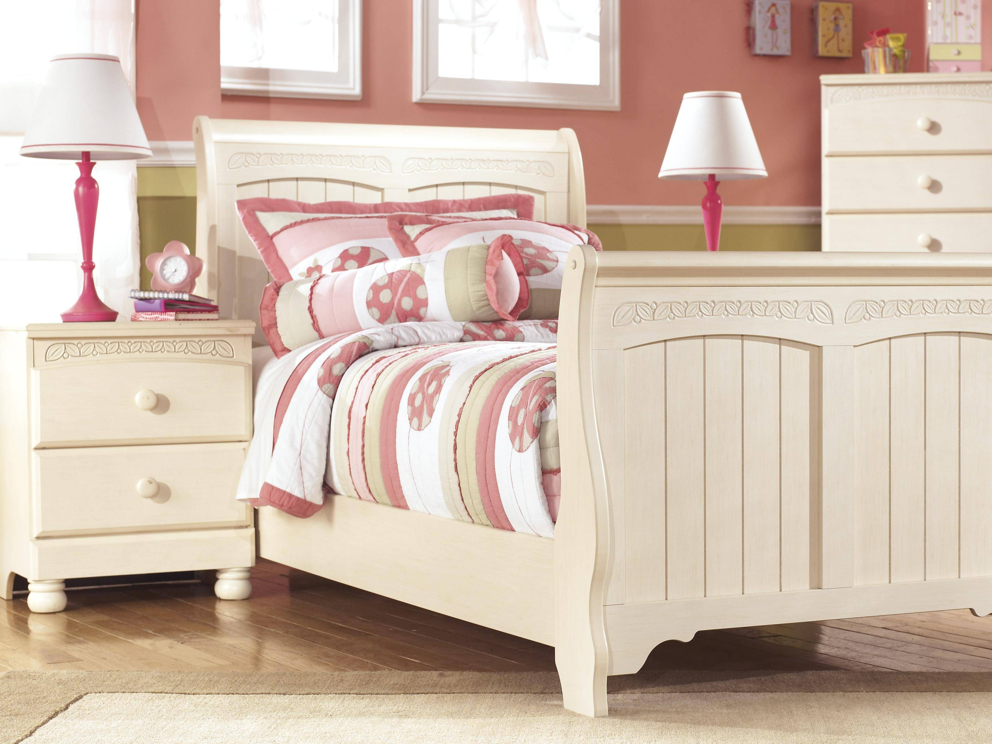 Ashley Cottage Retreat B213 Twin Size Sleigh Bedroom Set 6pcs In Cream Cottage B213 63 62 82 92