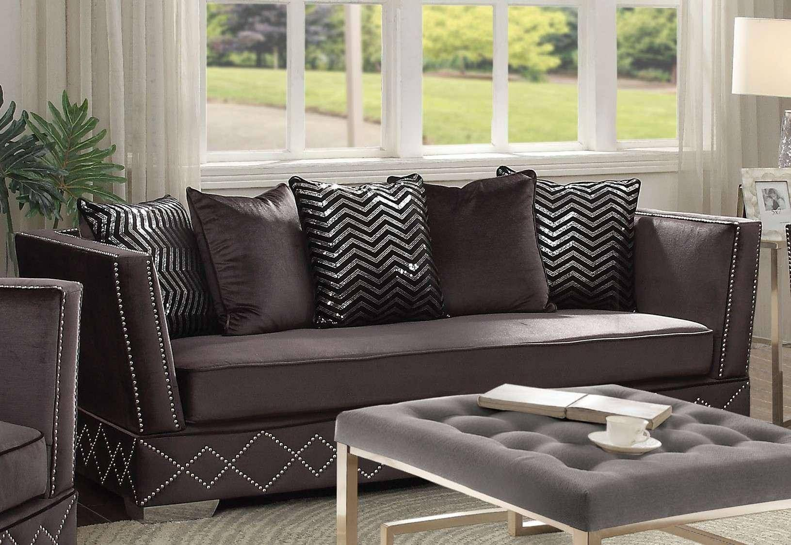 Cool Charcoal Velvet Upholstery Sofa Modern Acme Furniture 54260 Bralicious Painted Fabric Chair Ideas Braliciousco