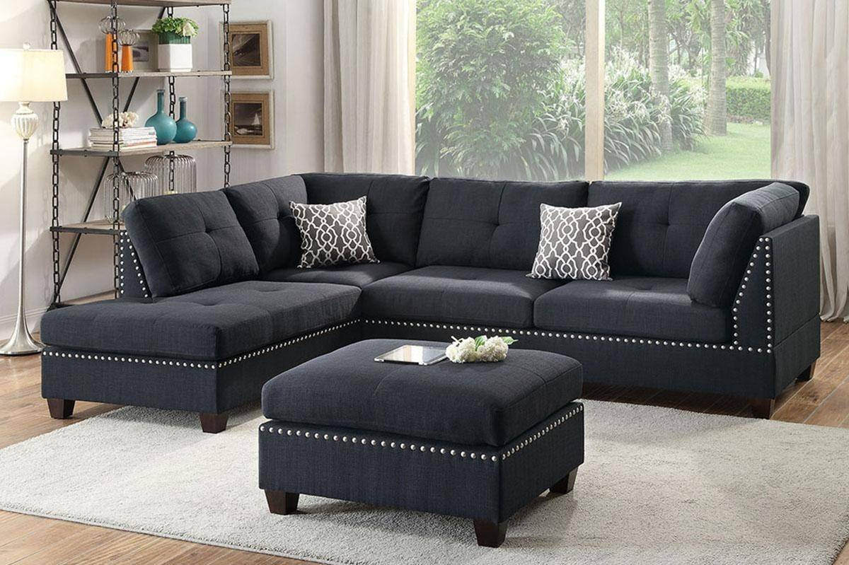 Black Fabric Sectional Sofa Set F6974