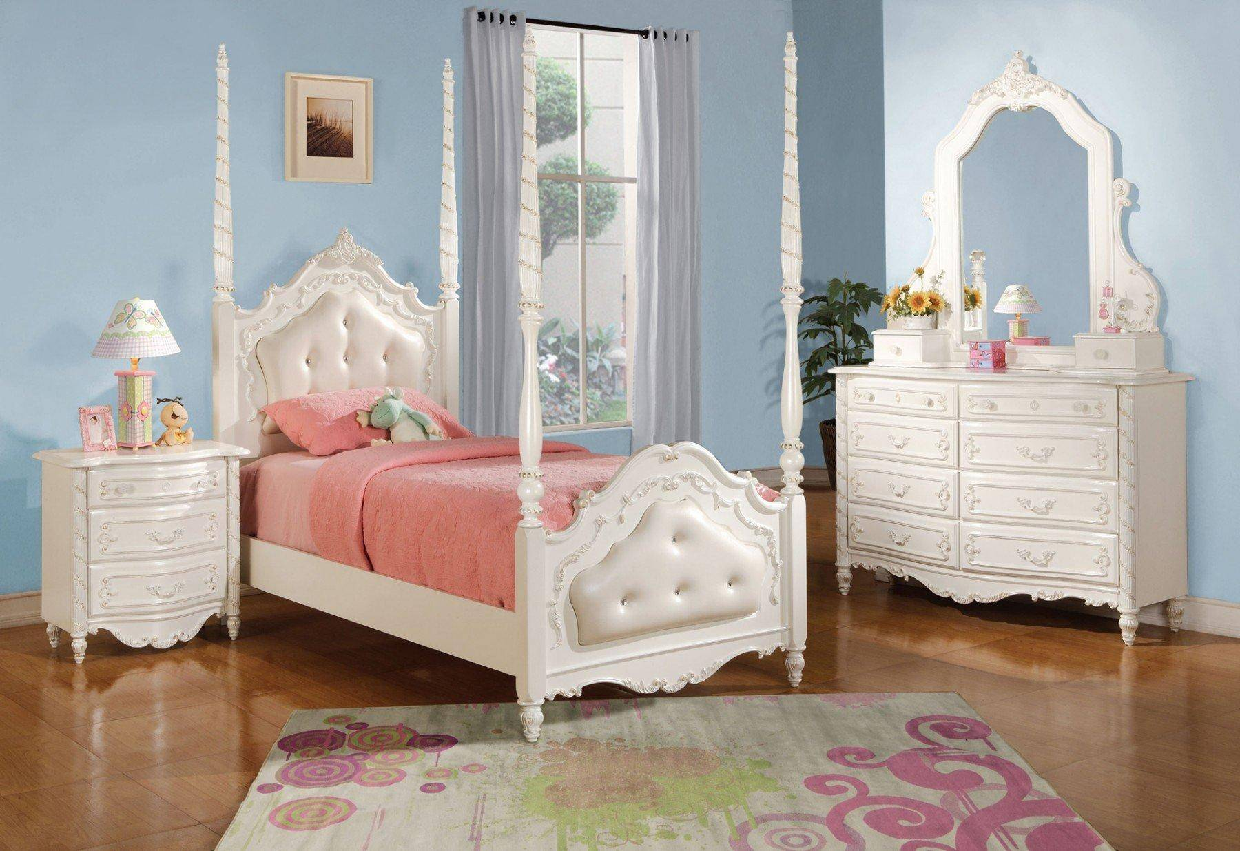Acme Furniture 11000T Pearl White Youth Upholstered Poster ...